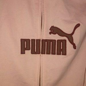 pink puma zip up sweatshirt